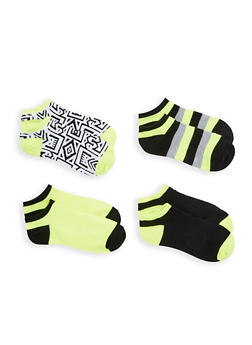 Pack of 4 Assorted Ankle Socks - NEON YELLOW - 1143041452218