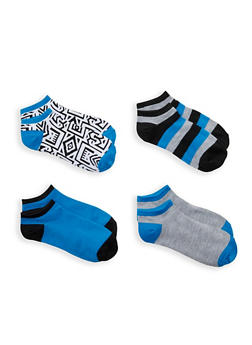 Pack of 4 Assorted Ankle Socks - BLUE - 1143041452218