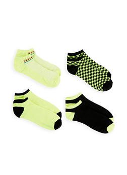 Set of 4 Printed Ankle Socks - NEON YELLOW - 1143041452919