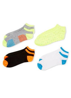 4-Pack Ankle Socks - NEON LIME - 1143041453617