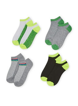 Four Pack of Assorted Ankle Socks with Polka Dot and Camo Prints - 1143041453816