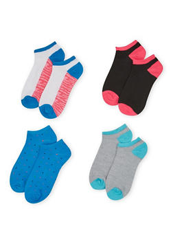 Four Pack of Assorted Ankle Socks with Polka Dot and Camo Prints - AQUA - 1143041453816