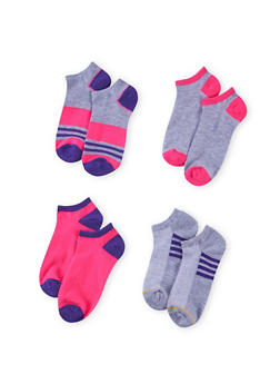 Assorted Ankle Sock 4 Pack with Stripes - PURPLE - 1143041454116