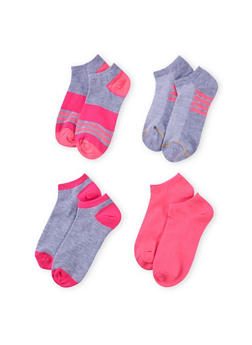Assorted Ankle Sock 4 Pack with Stripes - FUCHSIA - 1143041454116