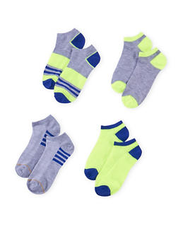 Assorted Ankle Sock 4 Pack with Stripes - NEON LIME - 1143041454116