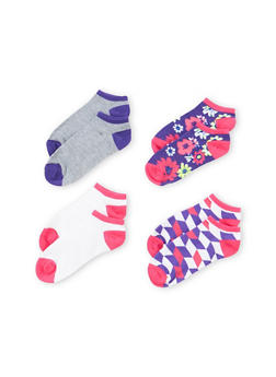 Assorted Ankle Socks 4-Pack - PURPLE MULTI - 1143041454216