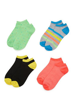 4-Pack of Ankle Socks - NEON ORANGE - 1143041454316