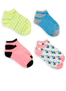 Set of 4 Assorted Ankles Socks - LIME - 1143041455118