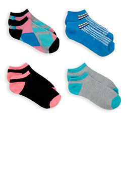 4 Pack Assorted Ankle Socks - MULTI COLOR - 1143041455517
