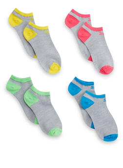 Plus Size Assorted Set of 4 Color Block Ankle Socks - 1143041458417