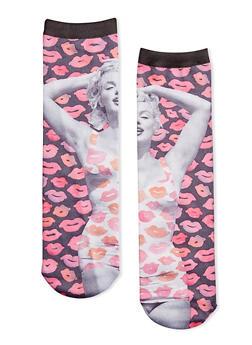 Marylin Monroe Socks with Lipstick Print - 1143068065512