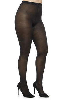 Plus Size Footed Black Tights - 1150041458882