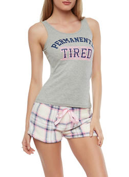 Graphic Tank Top and Fleece Shorts Pajama Set - 1152035161478