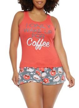 Plus Size Coffee Graphic Pajama Set - 1152035161500