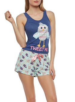 Bird Graphic Tank Top and Shorts Pajama Set - 1152035161716