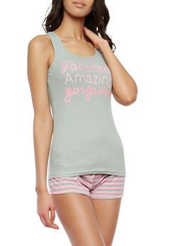 Graphic Tank Top and Shorts Pajama Set - 1152035162123