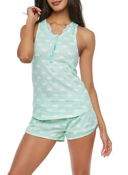 Printed Lace Trim Pajama Set - 1152069006934