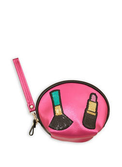 Sequin Graphic Makeup Pouch - 1163018436727