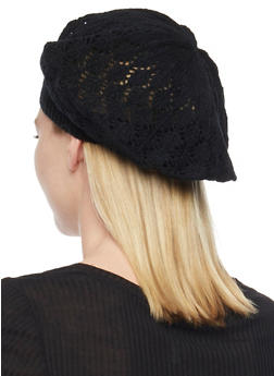 Crocheted Beret Hat - BLACK - 1163067440007