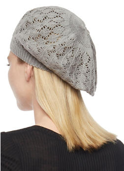 Crocheted Beret Hat - LIGHT GREY - 1163067440007