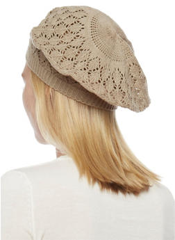 Crocheted Beret Hat - TAUPE - 1163067440007