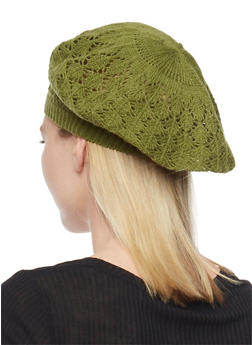 Crocheted Beret Hat - OLIVE S - 1163067440007