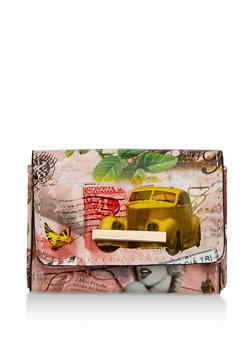 Faux Leather Printed Card Wallet - 1163067440307