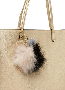 Two Tone Pom Pom Keychain with Bunny Ears - 1163067440710