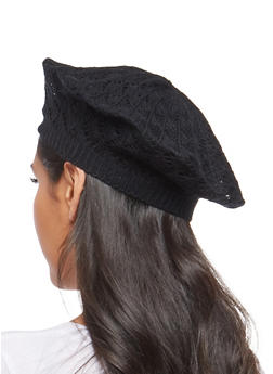 Crochet Knit Beret - BLACK - 1163067440808