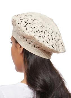 Crochet Knit Beret - OATMEAL - 1163067440808
