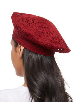 Crochet Knit Beret - BURGUNDY - 1163067440808