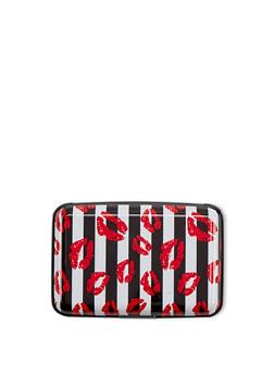 Striped Lip Print Card Wallet - 1163067441082