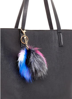 Faux Fur Multi Color Pom Pom Key Chain - 1163067442306
