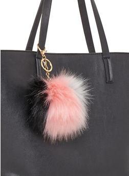 Faux Fur Multi Color Pom Pom Key Chain - 1163067442306
