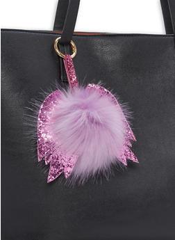 Glitter Wing Pom Pom Keychain - 1163067443008
