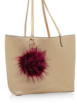Faux Fur Pom Pom Bag Charm - PURPLE - 1163067446017
