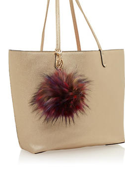 Faux Fur Pom Pom Bag Charm - 1163067446017