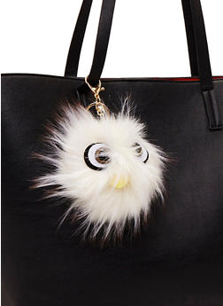 Faux Fur Pom Pom Keychain with Monster Face - WHITE - 1163067446033