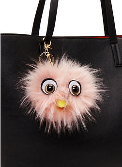 Faux Fur Pom Pom Keychain with Monster Face - BLUSH - 1163067446033