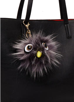 Faux Fur Pom Pom Keychain with Monster Face - GREY - 1163067446033