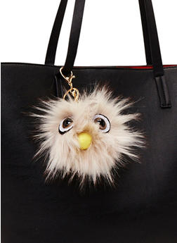Faux Fur Pom Pom Keychain with Monster Face - 1163067446033