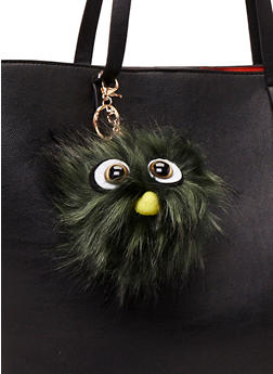 Faux Fur Pom Pom Keychain with Monster Face - OLIVE S - 1163067446033