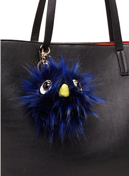 Faux Fur Pom Pom Keychain with Monster Face - NAVY S - 1163067446033