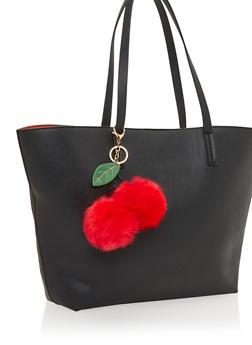 Cherry Faux Fur Pom Poms Bag Charm - 1163067446034