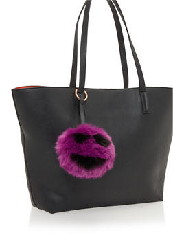 Faux Fur Pom Pom Bag Charm with Smiley Face - 1163067446035