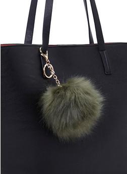 Faux Fur Pom Pom Bag Charm - 1163067446100
