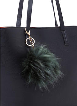 Faux Fur Pom Pom Bag Charm - 1163067446107