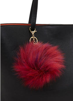 Faux Fur Multi Color Pom Pom Keychain - FUCHSIA - 1163067447000