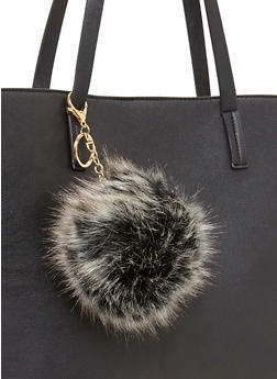Faux Fur Dyed Tips Pom Pom Key Chain - WHITE - 1163067447005