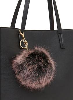 Faux Fur Dyed Tips Pom Pom Key Chain - LILAC - 1163067447005
